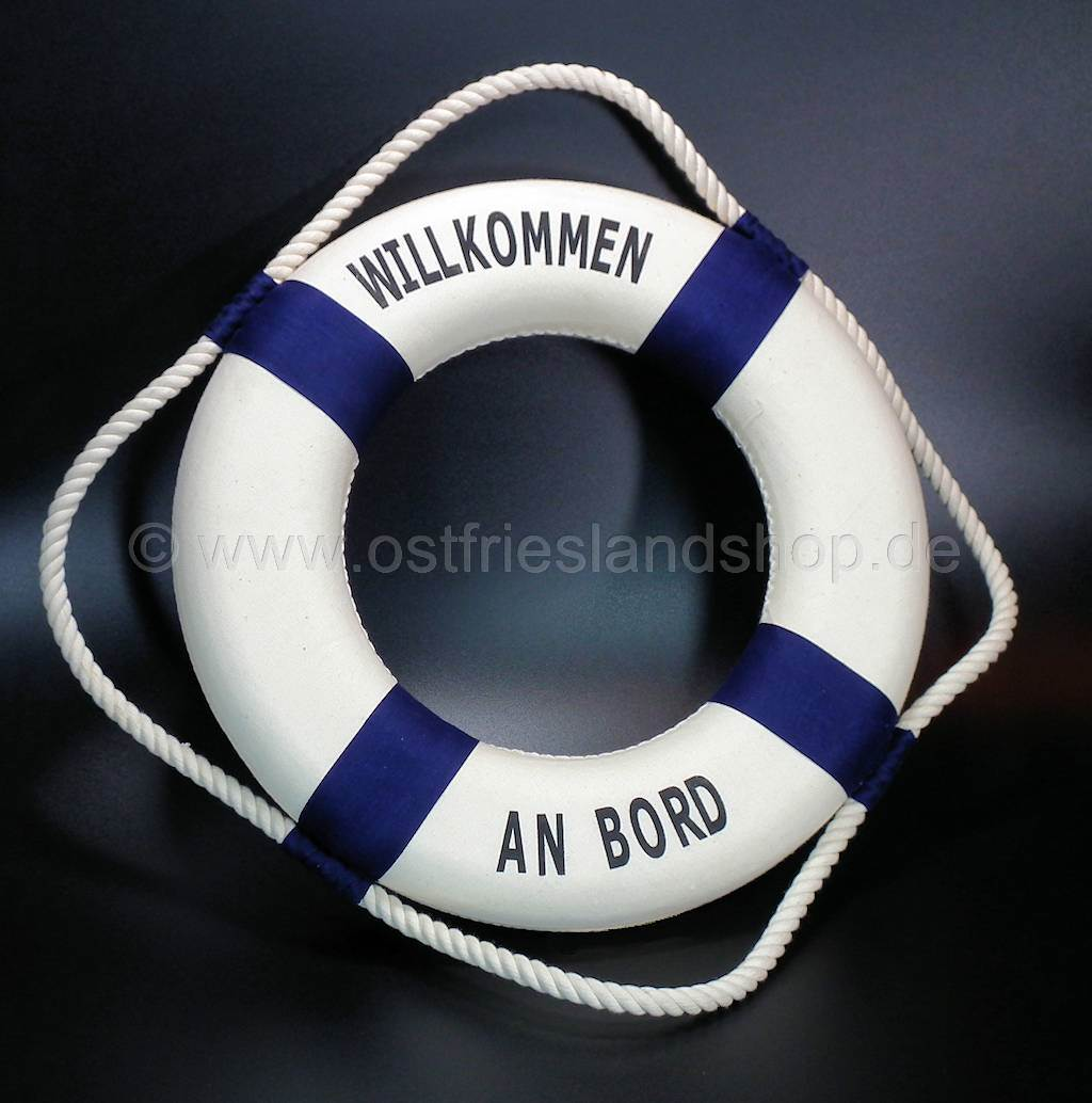"Rettungsring 25 cm blau//weiß /""Willkommen an Bord/"" maritime Dekoration"